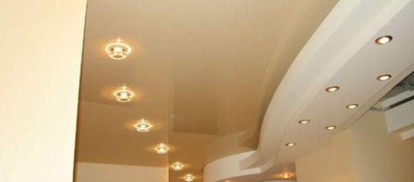 установка точечных светильников в гипсокартон