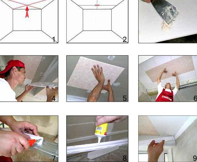 как положить плитку на потолок технология