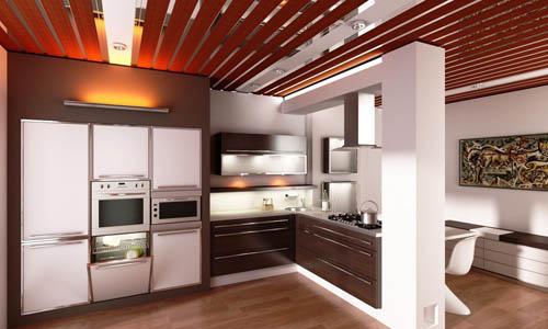 Реечные потолки для кухни