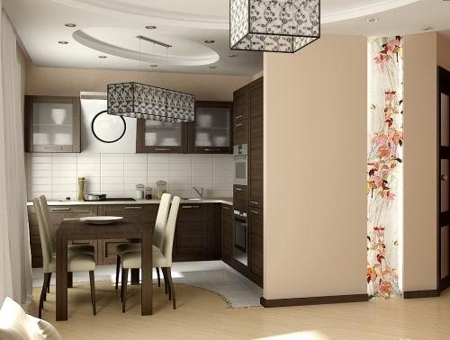 Фото 5 - Дизайн гипсокартонных потолков для кухни, совмещенной с гостиной