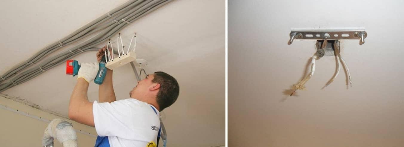 Монтаж установочной пластины можно сделать самостоятельно, главное — делать все последовательно и предельно осторожно, чтобы не повредить натяжной потолок