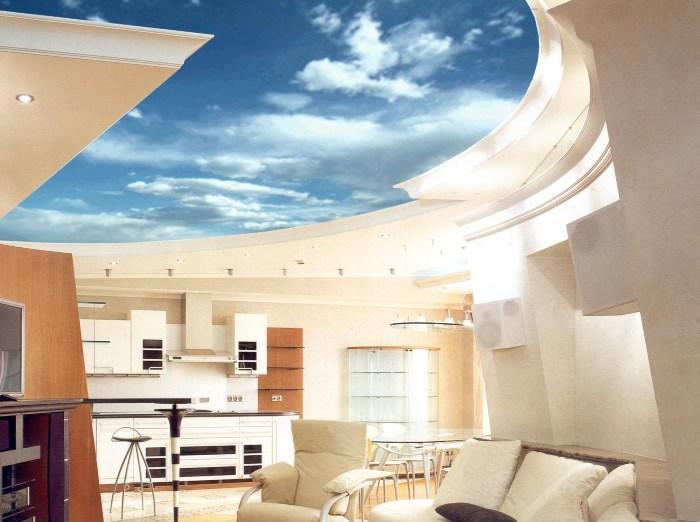 Потолок небо на кухне