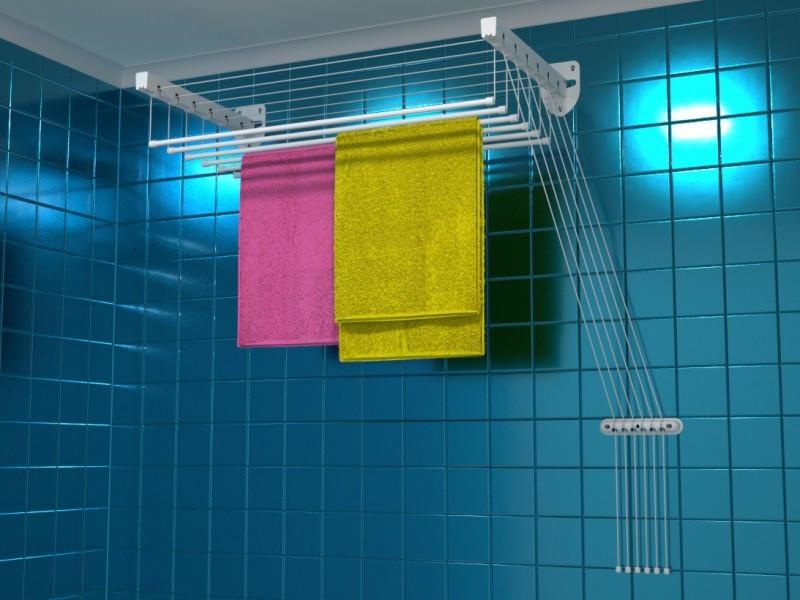 Прочными и безопасными являются настенно-потолочные сушилки для белья, которые изготовлены из металла