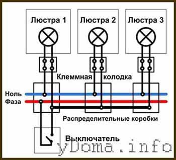 Схема подключения двух люстр от одного выключателя