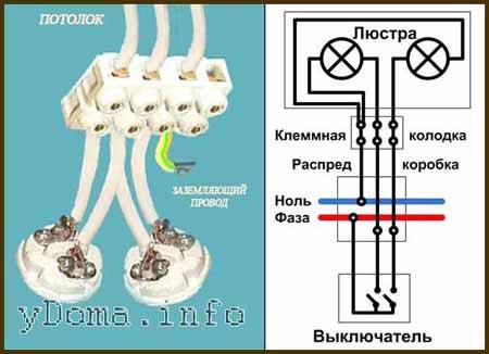 Схема подключения 2 рожковой люстры к 3 проводам