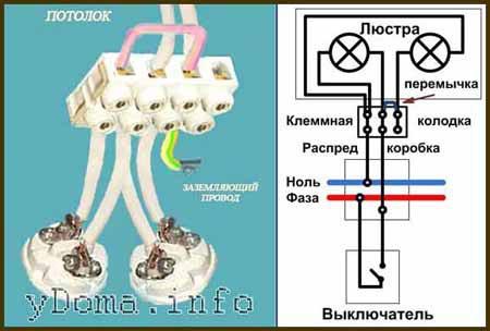 Схема подключения 2х рожковой люстры