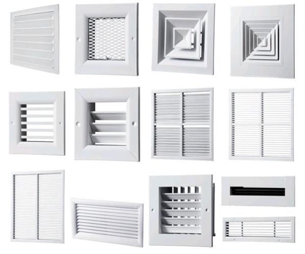 Типы вентиляционных решеток в зависимости от формы