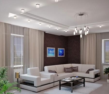 Двухуровневый потолок дает возможность выполнить нестандартные решения по установке освещения