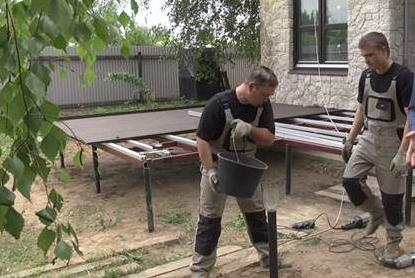 Этап бетонирования труб