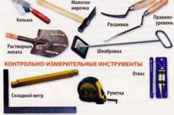 Инструменты для отделки стены кирпичом