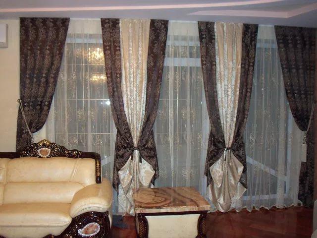 комбинированные шторы из разных тканей