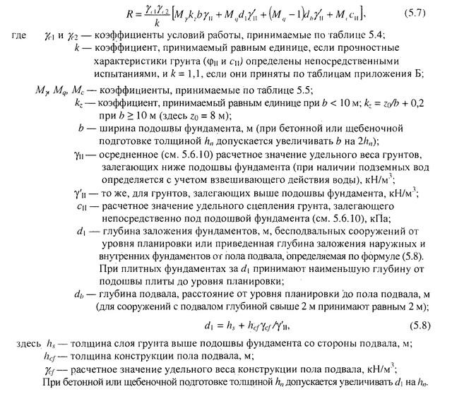 Формула определения расчетного сопротивления грунта основания.