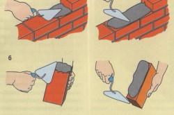 Процесс кладки облицовочного кирпича