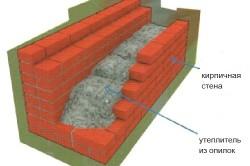 Схема утепления кирпичной стены опилками