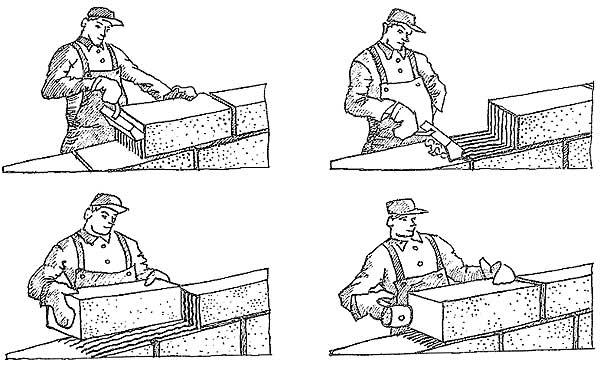 Схема кладки стен из газосиликатных блоков