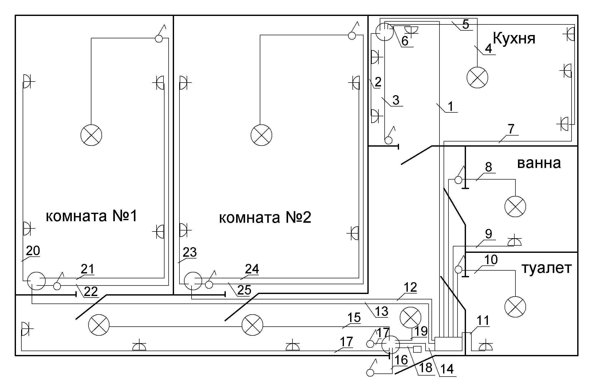 Типовая электропроводка схема квартир фото 542