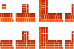 Схема четырехрядной кладки в 2 кирпича