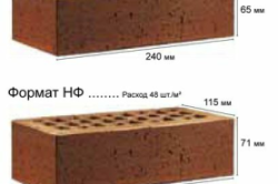 Расход клинкерного облицовочного кирпича в штуках на м²