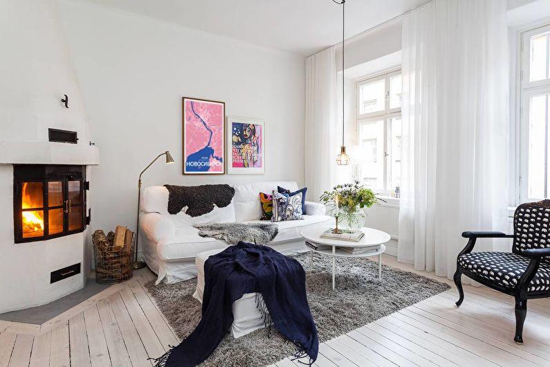 Шторы для гостиной (зала) в скандинавском стиле - фото