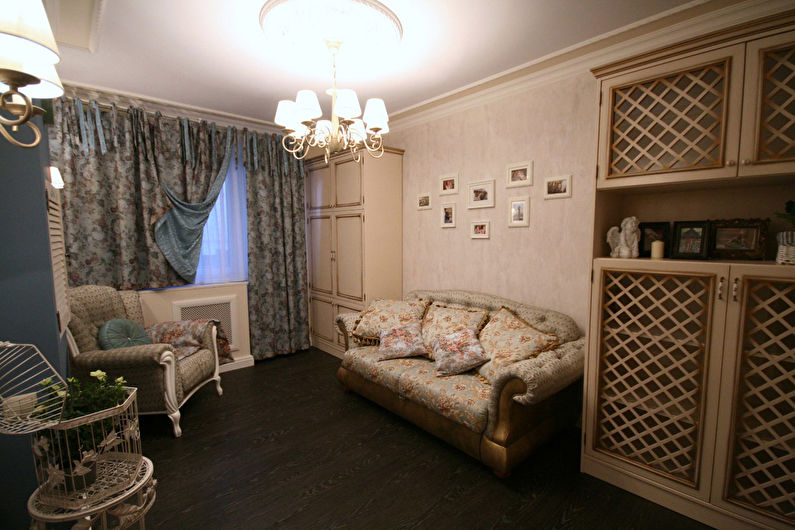 Шторы с цветочным рисунком для гостиной (зала) в стиле прованс - фото
