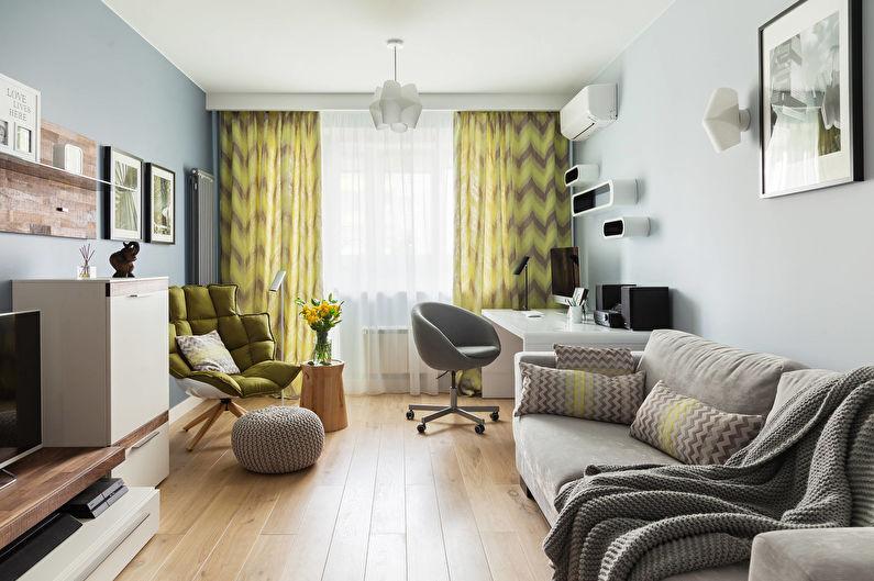 Желтые шторы с рисунком для гостиной (зала) - фото