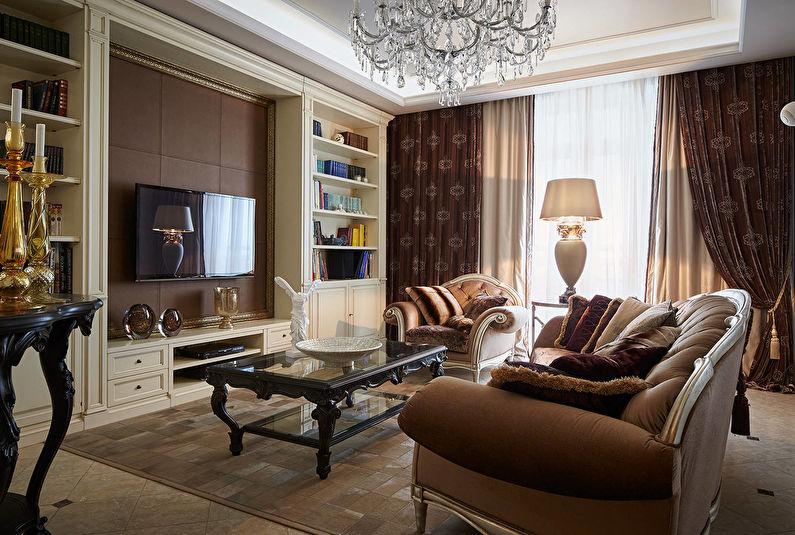 Коричневые шторы для гостиной (зала) - фото