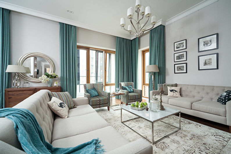 Бирюзовые шторы для гостиной (зала) - фото
