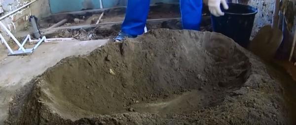 Подготовка кучи к заливке воды