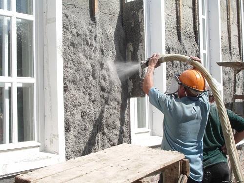 Утепление фасада дома эковатой