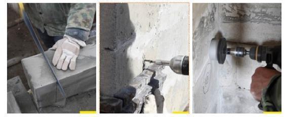 Укладка и сверление пенобенонных блоков