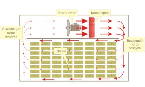 Схема сушки древесины в сушильной камере