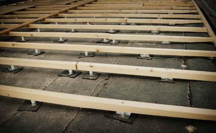 Установка и крепление лаг бетонному полу