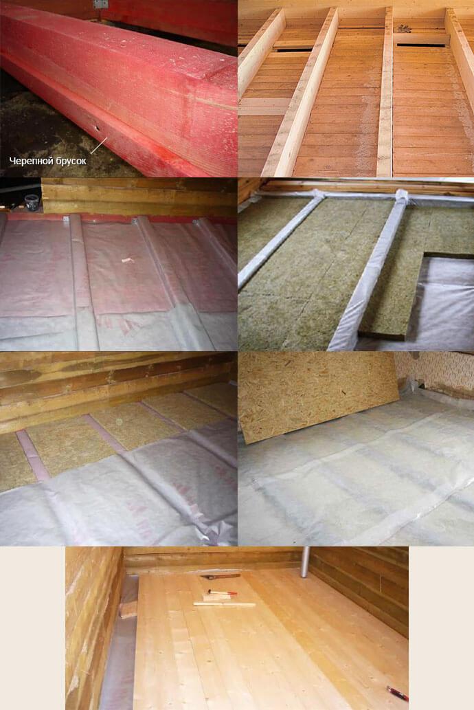 Процесс монтажа чернового пола в деревянном доме своими руками