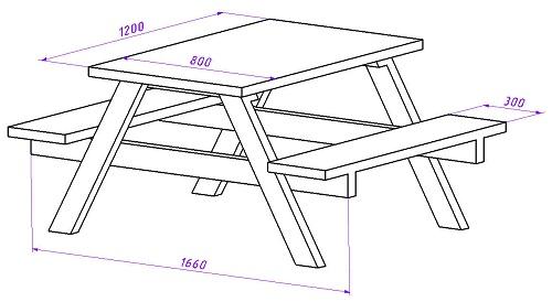 Стол со скамейками чертеж.