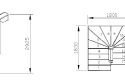 Схема поворотной деревянной лестницы с размерами