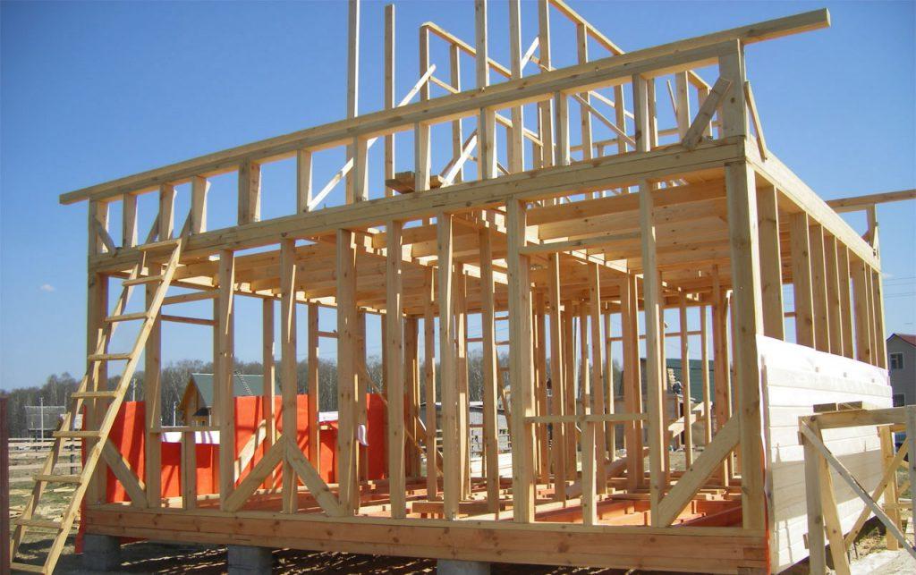 Строительство каркасного домика на даче фото.