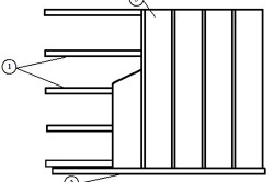 Схема укладки пластиковой вагонки: 1 – решетка; 2 – профили; 3 – пластиковая вагонка.