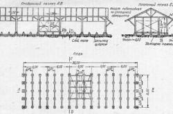 Схема навеса для хранения пиломатериалов открытого вида