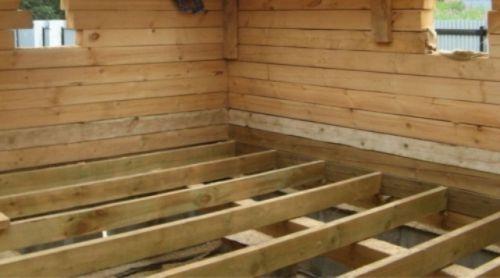 Монтаж лаг на деревянные перекрытия
