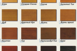 Таблица цвета лаков для дерева
